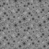 Schwarzweiss-nahtloses mit Blumenmuster Lizenzfreies Stockbild