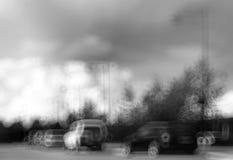 Schwarzweiss--Norwegen-Autoverkehr bokeh mit Hintergrund Lizenzfreie Stockfotografie