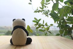 Schwarzweiss-Pandapuppe lizenzfreie stockfotografie