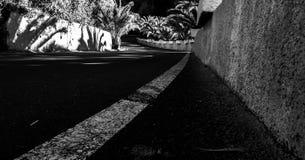 Schwarzweiss-Perspektivenfoto einer kurvenreichen Straße stockbilder