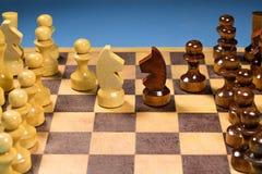 Schwarzweiss-Pferd des Schachs gründete auf dunklem Hintergrund Führer- und Teamwork-Konzept für Erfolg Stockfotografie