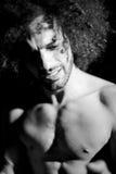 Schwarzweiss-Porträt des Mannes leiden traurig lizenzfreies stockfoto