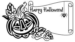 Schwarzweiss-Rahmen mit Halloween-Kürbis und Text u. x22; Glückliches Halloween! u. x22; Lizenzfreie Stockfotografie