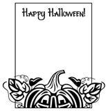 Schwarzweiss-Rahmen mit Halloween-Kürbis und Text u. x22; Glückliches Halloween! u. x22; Stockbilder