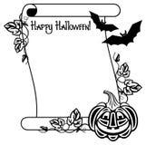 Schwarzweiss-Rahmen mit Halloween-Kürbis und Text u. x22; Glückliches Halloween! u. x22; Lizenzfreie Stockfotos