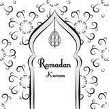 Schwarzweiss--Ramadan-Grußhintergrund Ramadan Kareem bedeutet Moschee Auch im corel abgehobenen Betrag Stockfotos
