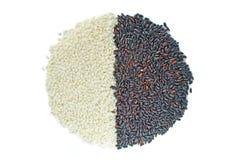 Schwarzweiss-Reis in rundem Lizenzfreies Stockbild