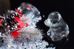 Schwarzweiss, Rippenstück horoscop, 2018 neues Jahr des Hundes, Glashund Stockbilder