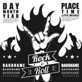 Schwarzweiss-Rockfestivalplakat, mit Zeichen und -feuer des Rocks n Rollen Stockfotos
