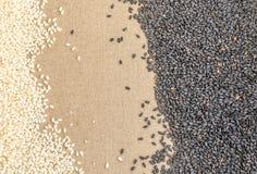 Schwarzweiss-Samen des indischen Sesams auf Segeltuch-Hintergrund mit Raum für Text Lizenzfreies Stockbild