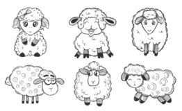Schwarzweiss-Satz mit lustigen Schafen stockbild