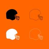 Schwarzweiss-Satzikone des amerikanischen Football-Helms Lizenzfreie Stockfotografie