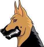 Schwarzweiss-Schäferhundkarikatur Stockfoto