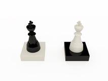 Schwarzweiss-Schachkönige Stockbild