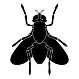 Schwarzweiss-Schattenbild eines Fliegensitzens Stockfoto