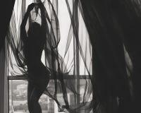 Schwarzweiss-Schattenbild schöner junger Dame Stockbild