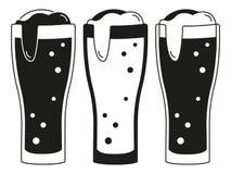 Schwarzweiss-Schattenbildsatz mit 3 Biergläsern Lizenzfreies Stockbild