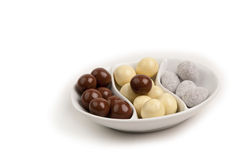 Schwarzweiss-Schokoladenzusammenstellungsnahaufnahme Lizenzfreies Stockbild