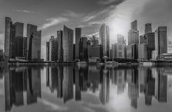 Schwarzweiss--Singapur-Stadtskyline des Geschäftsgebiets Stockbilder