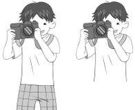 Schwarzweiss-Skizze eines Karikaturkerlcharakters Stockfotos