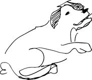 Schwarzweiss-Skizze eines Schoßhunds Stockfotografie