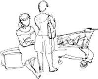 Schwarzweiss-Skizze von zwei Frauen in einem Supermarkt Lizenzfreies Stockbild