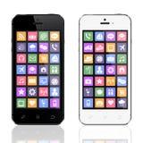 Schwarzweiss-Smartphones mit apps Ikonen Lizenzfreie Stockfotos