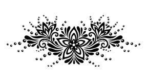 Schwarzweiss-Spitzeblumen und -blätter lokalisiert auf Weiß. Blumenmusterelement im Retrostil. Lizenzfreies Stockfoto