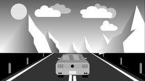 Schwarzweiss-Sport fastet schöne starke Autofahrten entlang der Straße gegen einen Hintergrund einer Gebirgswinter Landschaft und vektor abbildung