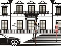 Schwarzweiss-Stadt Barcodedesign-Dame Queens stockfoto