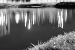 Schwarzweiss-Strand mit bokeh Gras- und Wasserreflexionen Lizenzfreies Stockfoto