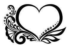 Schwarzweiss-- Symbol eines Herzens mit Blumen-desi Lizenzfreie Stockfotografie