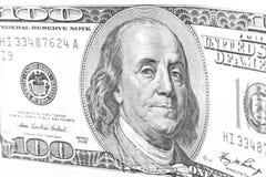 Schwarzweiss-Teil von 100 Dollar Stockfoto