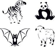 Schwarzweiss-Tiere Stockfotos