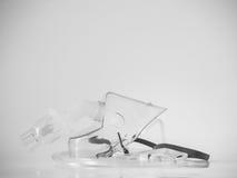 Schwarzweiss-Ton der medizinischer Ausrüstung u. des x28; Zerstäuber mask& x29; Lizenzfreies Stockfoto