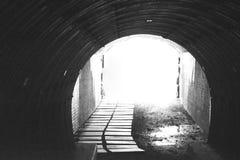 Schwarzweiss-Tunnel entlang dem Newport Cliff Walk Stockbild