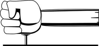 Schwarzweiss-Vektorbild ein Faust-förmiger Hammer schlägt einen Nagel lizenzfreie abbildung