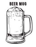 Schwarzweiss-Vektorbild eines Bierkrugs Stockfotos