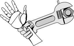 Schwarzweiss-Vektorbild-Eisengriff des wieder belebten Schlüssels stock abbildung