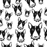 Schwarzweiss-Vektorhintergrund des glücklichen Hundebullterriers Nahtloses Muster stock abbildung