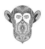 Schwarzweiss-Verzierung stellt wildes Tier der Waldaffen, dekoratives Spitzedesign gegenüber Seite für erwachsene Malbücher Hand  lizenzfreie abbildung