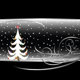 Schwarzweiss-Weihnachtsbaumkarte Stockfoto