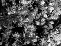 Schwarzweiss-Weihnachtsdekoration auf Baum Stockfotos