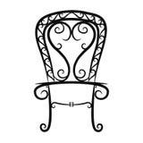 Schwarzweiss-Weinlesestuhl auf weißem Hintergrund stockbilder