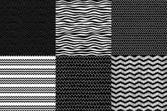 Schwarzweiss-Wellen und Zickzacksatz, Konturnvektorhandgezeichnete und geometrische nahtlose Hintergründe Stockbild