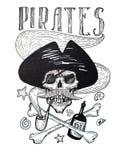 Schwarzweiss-Zeichnung der Piratenattributzusammensetzung: Schädel, Schnurrbart, Anker, Rum und Knochen stock abbildung