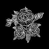 Schwarzweiss-Zeichnung einer Rosentätowierung Schattenbild der Niederlassung mit Blumen von Rosen und von Blättern Lizenzfreies Stockfoto