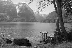 Schwarzweiss-Zweiersofa am See im Sommer Stockfotografie