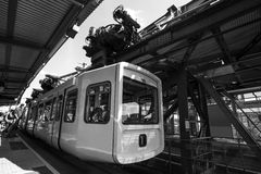 Schwebebahn train in wuppertal germany black and white Stock Image