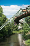 Schwebebahn in Wuppertal above the river Wupper Royalty Free Stock Image